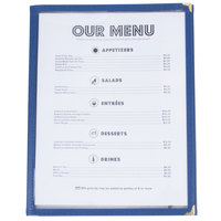 8 1/2 inch x 11 inch Blue Three Pocket Fold Over Menu Cover