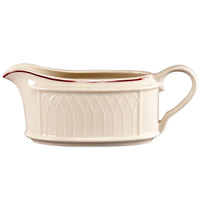 Homer Laughlin 1492-0319 Gothic Red Jade 11.75 oz. Off White Sauce Boat - 36/Case