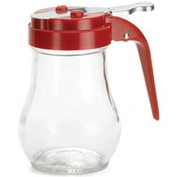 Tablecraft 406RE 6 oz. Glass Teardrop Syrup Dispenser with Red ABS Top - 12/Pack