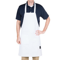 Chef Revival 601BAC-WH Customizable Full-Length White Bib Apron - 30 inchL x 34 inchW