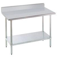 "Advance Tabco KMSLAG-303-X 36"" x 30"" 16 Gauge Stainless Steel Work Table with Undershelf and Backsplash"