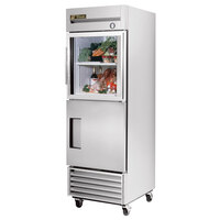 True T-23-1-G-1 27 inch Combination Half Door Reach In Refrigerator with Glass Top Door and Solid Bottom Door