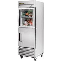 True T-23-1-G-1 27 inch Combination Half Door Reach In Refrigerator with Glass Top Door and Solid Bottom Door