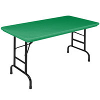 Correll R-Series RA2448 24 inch x 48 inch Green Plastic Adjustable Height Folding Table