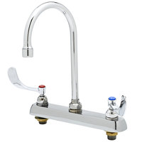 T&S B-1142-04A-QT Deck Mount Workboard Faucet with 8 inch Centers and 4 inch Wrist Action Handles - 11 3/8 inch High Gooseneck with 5 3/4 inch Spread