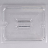 Cambro 20CWCHN135 Camwear 1/2 Size Clear Polycarbonate Handled Lid with Spoon Notch