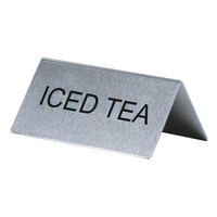 Iced Tea Table Tent Sign Stainless Steel - 3 inch x 1 1/2 inch