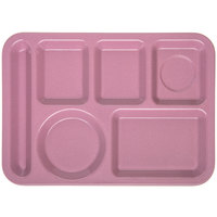 Carlisle 4398193 10 inch x 14 inch Rose Heavy Weight Melamine Granite Left Hand 6 Compartment Tray
