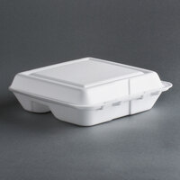 Dart Solo 80HT3R 8 inch x 7 1/2 inch x 2 inch White Foam 3 Compartment Hinged Lid Container 100 / Pack