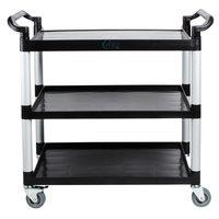 Choice 3 Shelf Black Utility / Bussing Cart – 42 inch x 20 inch x 38 inch