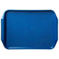 Carlisle CT121714 Customizable Cafe 12 inch x 17 inch Blue Handled Plastic Fast Food Tray - 12/Case