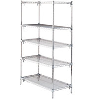 Metro 5A477C Stationary Super Erecta Adjustable 2 Series Chrome Wire Shelving Unit - 21 inch x 72 inch x 74 inch