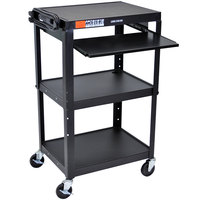 Luxor / H. Wilson AVJ42KB-B Black Mobile Computer Cart / Workstation 24 inch x 18 inch with Keyboard Shelf