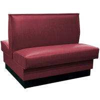 American Tables & Seating QAD-42 Portside Raspberry Plain Double Back Booth 42 inch High - Fully Upholstered Quick Ship