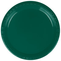 Creative Converting 28312411 7 inch Hunter Green Plastic Lunch Plate - 240 / Case