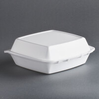 Dart Solo 85HT1R 8 inch x 8 inch x 3 inch White Foam Hinged Lid Container 100 / Pack