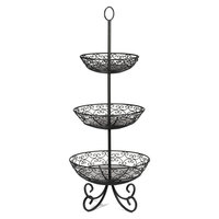 Tablecraft BKT3 Mediterranean Three Tier Black Display Basket with Legs - 34 inch