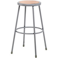 National Public Seating 6230 30 inch Gray Hardboard Round Lab Stool