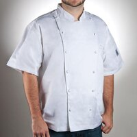 Chef Revival J057-3X Size 56 (3X) White Customizable Cuisinier Short Sleeve Chef Jacket - 100% Luxury Cotton