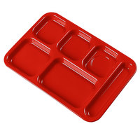 Carlisle 4398805 Red 10 inch x 14 inch Heavy Weight Melamine Right Hand 6 Compartment Tray