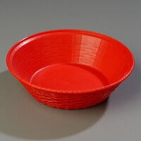 Carlisle 652405 WeaveWear Red Round Plastic Serving Basket 9 inch - 1.6 Qt. - 12/Case