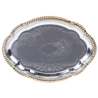 Vollrath 47265 18 1/8 inch x 13 inch Oval Gold Trim Metal Catering Tray