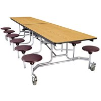 National Public Seating MTS10 10 Foot Mobile Cafeteria Table with Plywood Core and 12 Stools
