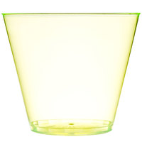 Fineline Savvi Serve 409-Y 9 oz. Squat Neon Yellow Hard Plastic Tumbler - 20/Pack