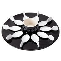 CAC PTP-21-BLK Bright White Party Collection Porcelain 10 Spoon Set with 12 1/4 inch Black Tray and 7 oz. Bowl - 4/Case
