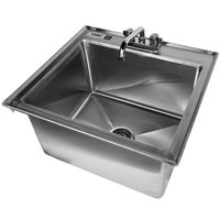 Regency 16 Gauge Drop In Stainless Steel Sink with 8 inch Faucet - 20 inch x 16 inch x 12 inch Bowl