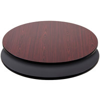 "Lancaster Table &amp&#x3b; Seating 36"" Laminated Round Table Top Reversible Cherry / Black"