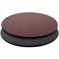 Lancaster Table & Seating 36 inch Laminated Round Table Top Reversible Cherry / Black