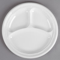 Dart 10CPWF 10 1/4 inch White 3 Compartment Famous Service Impact Plastic Plate - 500/Case