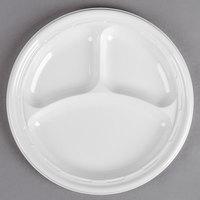 Dart Solo 10CPWF 10 1/4 inch White 3 Compartment Famous Service Impact Plastic Plate - 500/Case