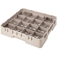 Cambro 16S638184 Camrack 6 7/8 inch High Beige 16 Compartment Glass Rack