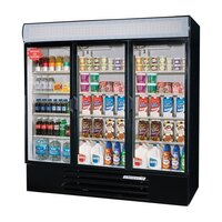 Beverage Air LV72Y-1-B-LED Black LumaVue 75 inch Refrigerated Glass Door Merchandising Refrigerator with LED Lighting- 72 Cu. Ft.