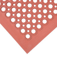Teknor Apex 755-101 T30 Competitor 3' x 5' Red Grease-Resistant Rubber Floor Mat with Bevel Edge - 1/2 inch Thick
