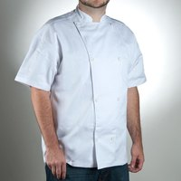 Chef Revival J005-XS Knife and Steel Size 32 (XS) White Customizable Short Sleeve Chef Jacket - Poly-Cotton Blend