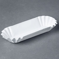 Heavy Weight 6 inch White Paper Fluted Hot Dog Tray - 3000/Case