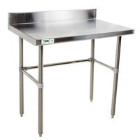 Regency 16 Gauge 30 inch x 30 inch Stainless Steel Commercial Open Base Work Table with Backsplash