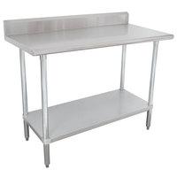 "Advance Tabco KSLAG-246-X 24"" x 72"" 16 Gauge Stainless Steel Work Table with Undershelf and Backsplash"
