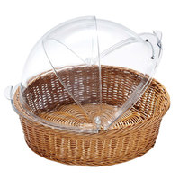 GET CO-2098-CL 16 1/4 inch x 8 inch Designer Polyweave Clear Round Cover for WB-1551 Baskets - 2 / Case