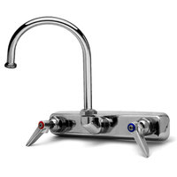 T&S B-1147 Wall Mounted Workboard Faucet with 8 inch Centers - 10 3/8 inch High Swivel Gooseneck with 5 11/16 inch Spread