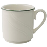 Homer Laughlin Lydia Green 8.25 oz. Off White China Mug - 36 / Case