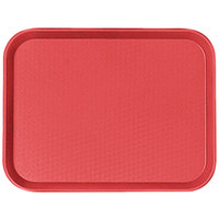 Cambro 1014FF163 10 inch x 14 inch Red Customizable Fast Food Tray - 24/Case
