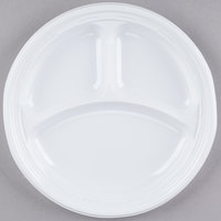 Dart Solo 9CPWF 9 inch White 3 Compartment Famous Service Impact Plastic Plate - 125/Pack