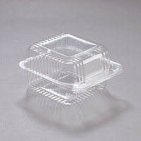 Dart PET20UTD StayLock 5 1/4 inch x 5 5/8 inch x 3 1/4 inch Clear Hinged PET Plastic 5 inch Square Deep Base Container - 500/Case