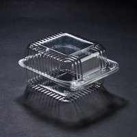 Dart Solo PET20UTD StayLock 5 1/4 inch x 5 5/8 inch x 3 1/4 inch Clear Hinged PET Plastic 5 inch Square Deep Base Container - 500/Case