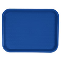 Carlisle CT101414 Customizable Cafe 10 inch x 14 inch Blue Standard Plastic Fast Food Tray - 24/Case