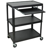 Luxor AVJ42XLKB Adjustable Height 3 Shelf Black A/V Cart with Keyboard Shelf